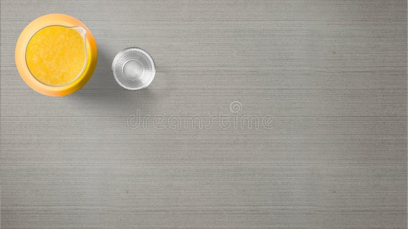 Jarro do suco de laranja com vidro no fundo cinzento fotos de stock