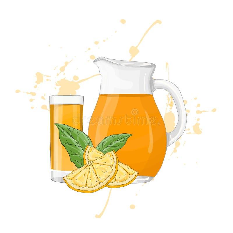 Jarro e vidro de vidro com vetor do suco de laranja ilustração stock
