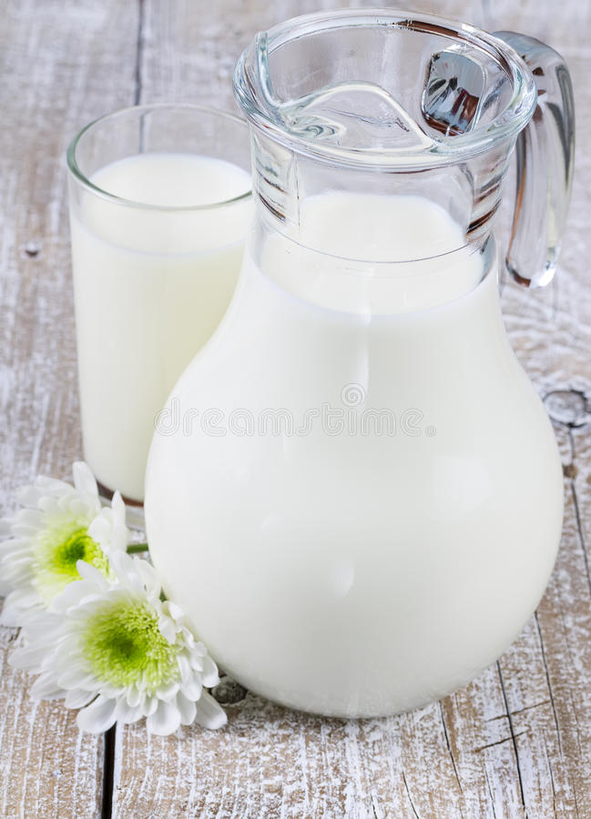 Jarro e vidro do leite fotografia de stock royalty free