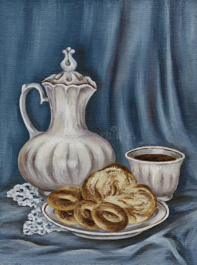 Jarro, pão extravagante e copo de café ilustração stock