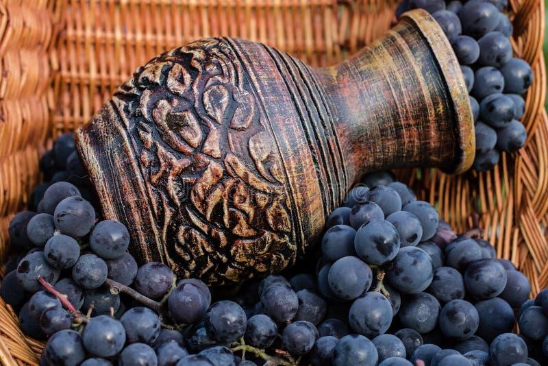 Jarro velho do vinho cercado por uvas pretas em uma cesta de vime fotos de stock royalty free