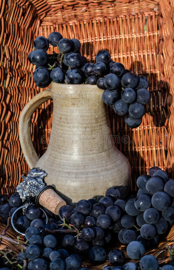 Jarro velho do vinho da argila cercado por grupos da uva e pelo emblema pretos do winemaking imagem de stock