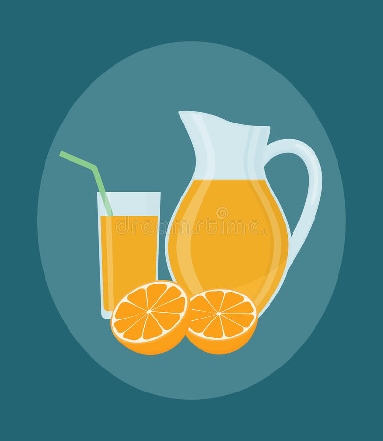 Jarro, vidrio de zumo de naranja y frutas anaranjadas libre illustration