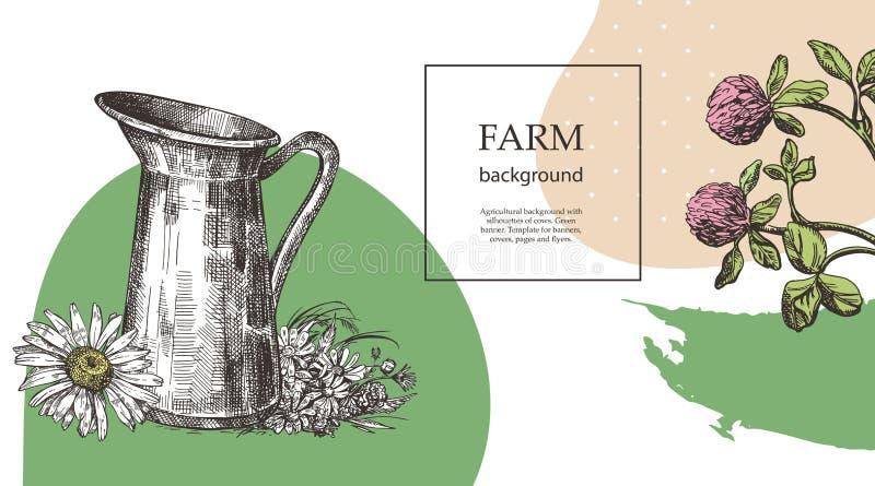 Jarro y ramo de flores salvajes Ejemplo del estilo del bosquejo Conveniente para el diseño de productos naturales agr?cola libre illustration