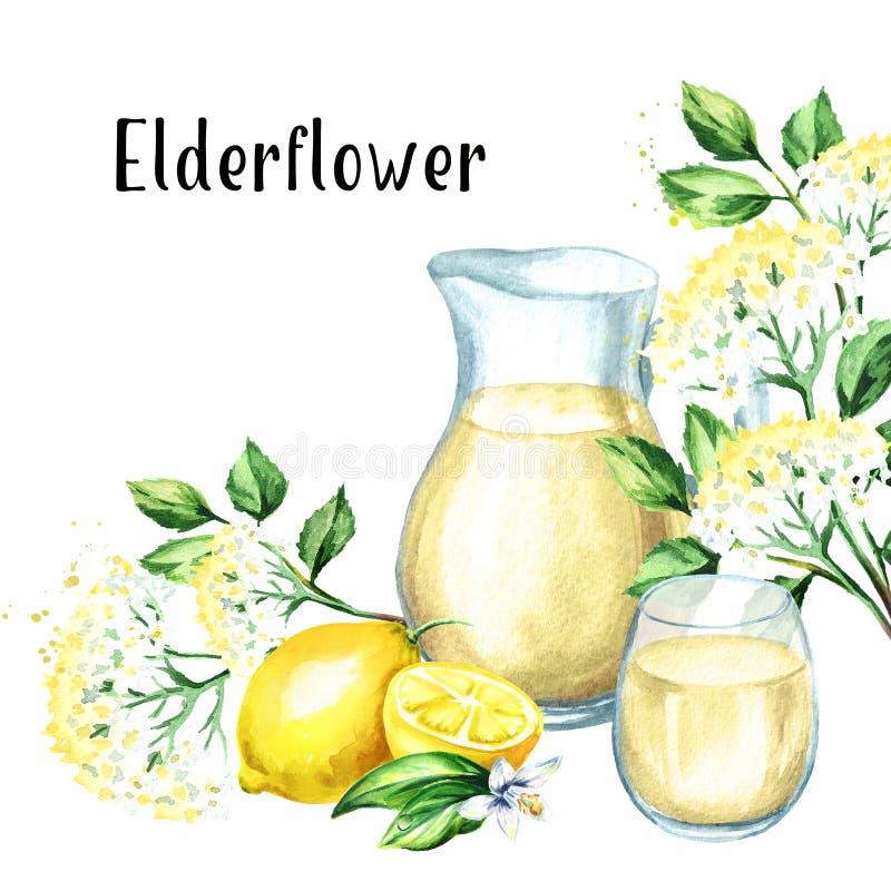 Jarro y vidrio con el jarabe hecho en casa del elderflower, bebida del verano, con una flor y un limón más viejos Ejemplo dibujad stock de ilustración