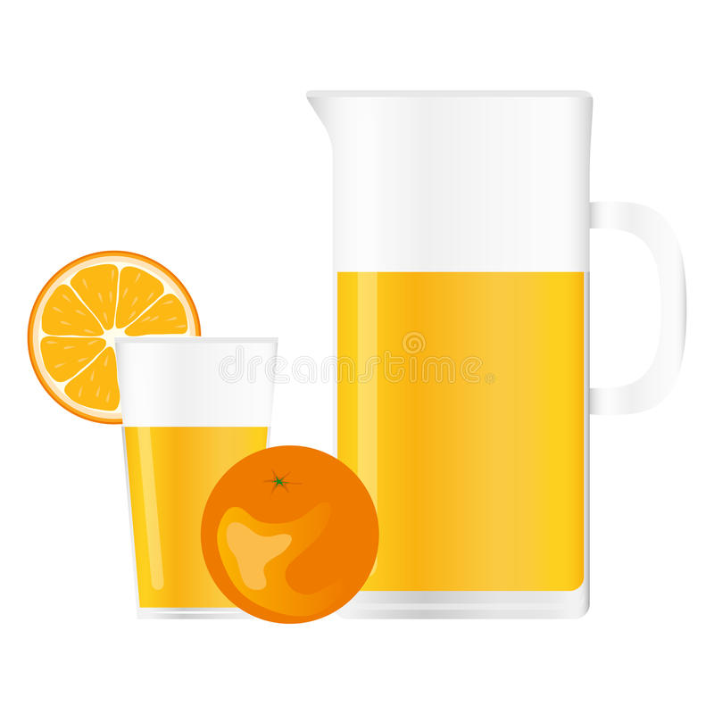 Jarro y vidrio con el zumo de naranja stock de ilustración