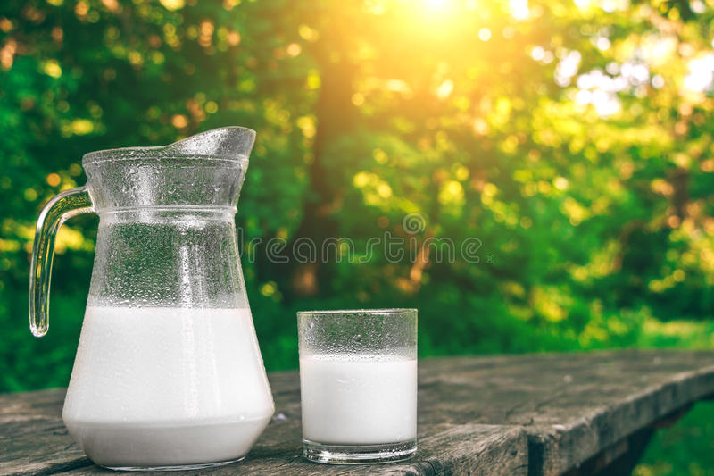 Jarro y vidrio de leche fría en la tabla de madera Productos lácteos frescos Fondo de la naturaleza imágenes de archivo libres de regalías
