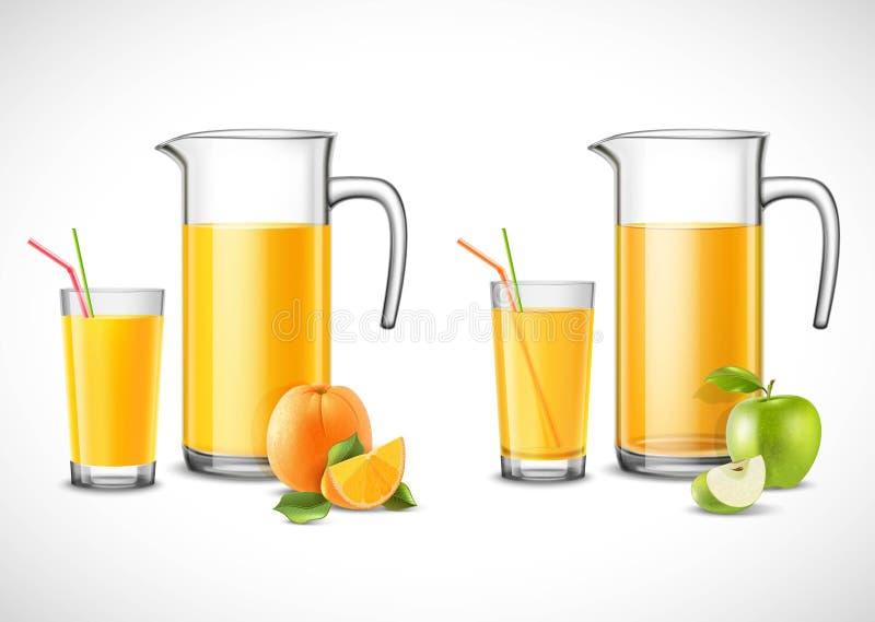 Jarros con Apple y el zumo de naranja ilustración del vector