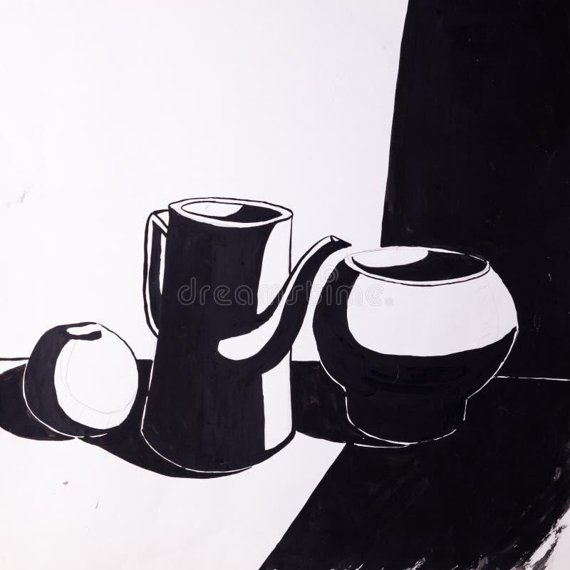 Jarros e maçã pintados com uma escova fotografia de stock royalty free