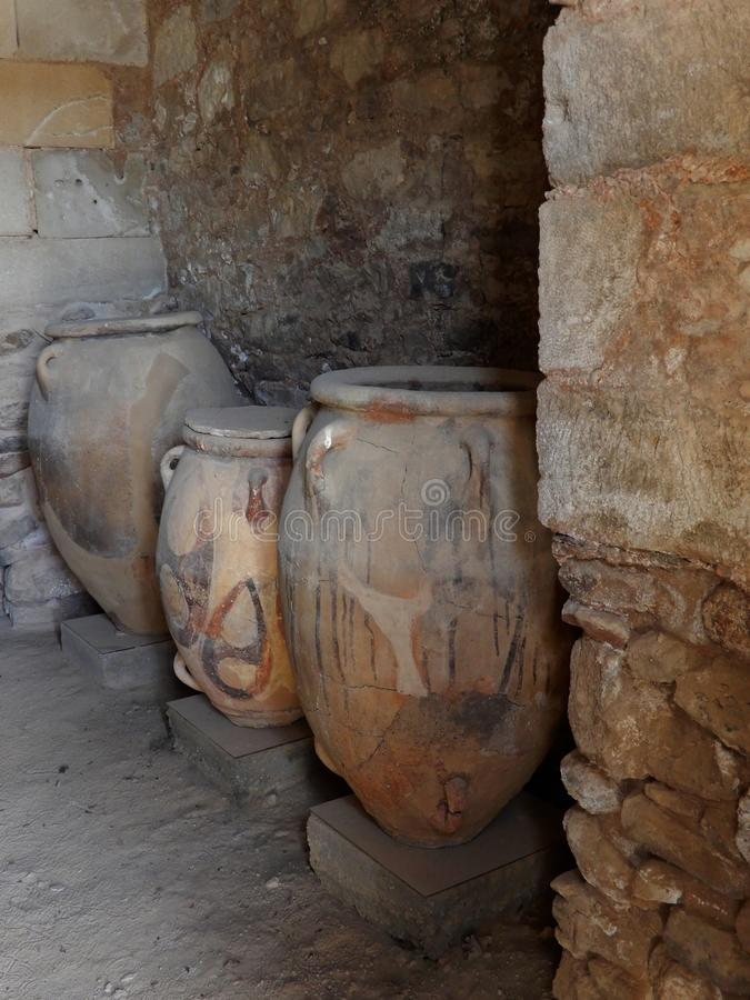Jars in an ancient old minoan site in Crete, Greece royalty free stock images