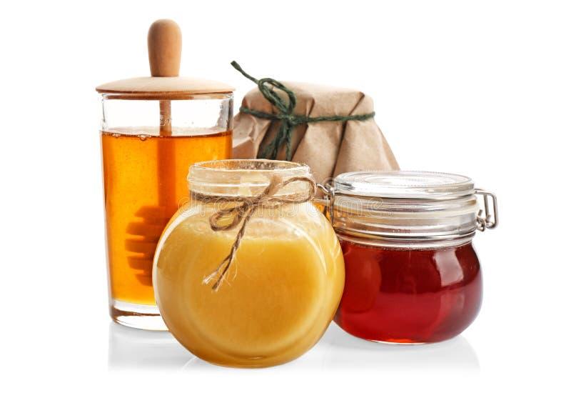Jars with aromatic honey stock photo
