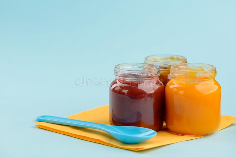 Jars of baby food royalty free stock image