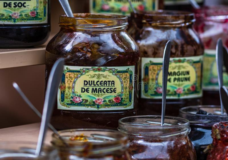 Jars of crepe jam at a food festival in Bucharest, Romania – 2019.  royalty free stock image