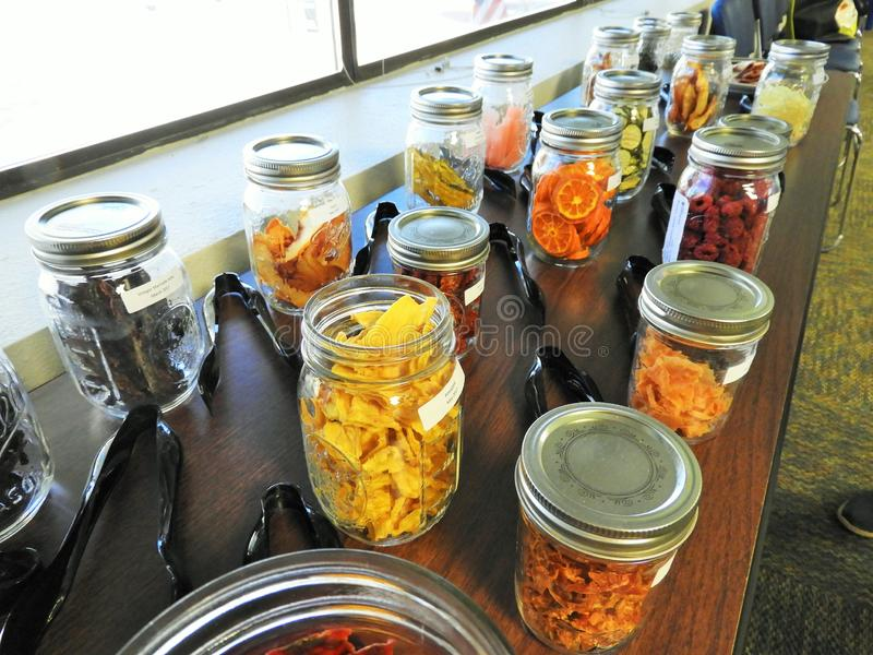 Jars of dried fruits and vegetables royalty free stock photography