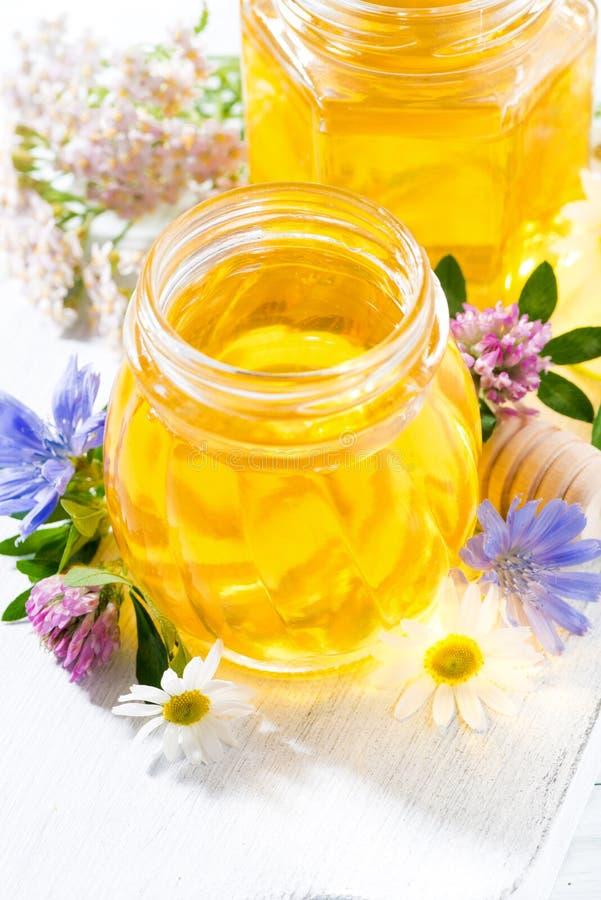 Jars with fresh flower honey on white wooden board, vertical closeup. Jars with fresh flower honey on white wooden board, closeup stock photography