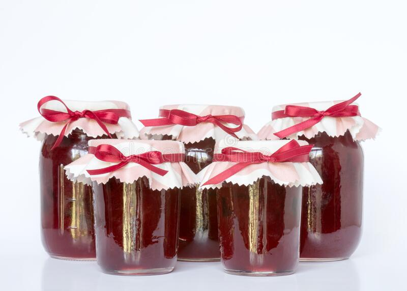 Jars of Homemade Plum Jam royalty free stock photo