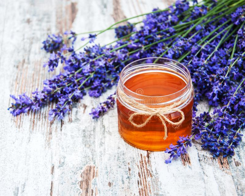 Honey and lavender stock images