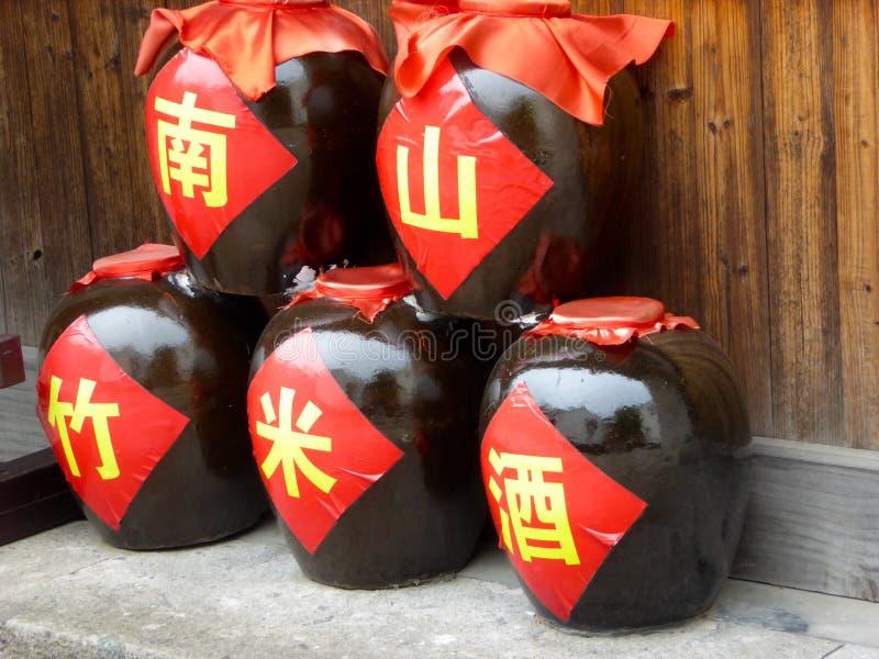 The jars installed Nanshan bamboo rice wine stock images