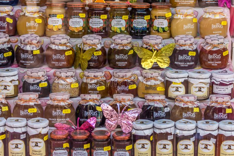 Jars of jam and marmelade for sale stock images