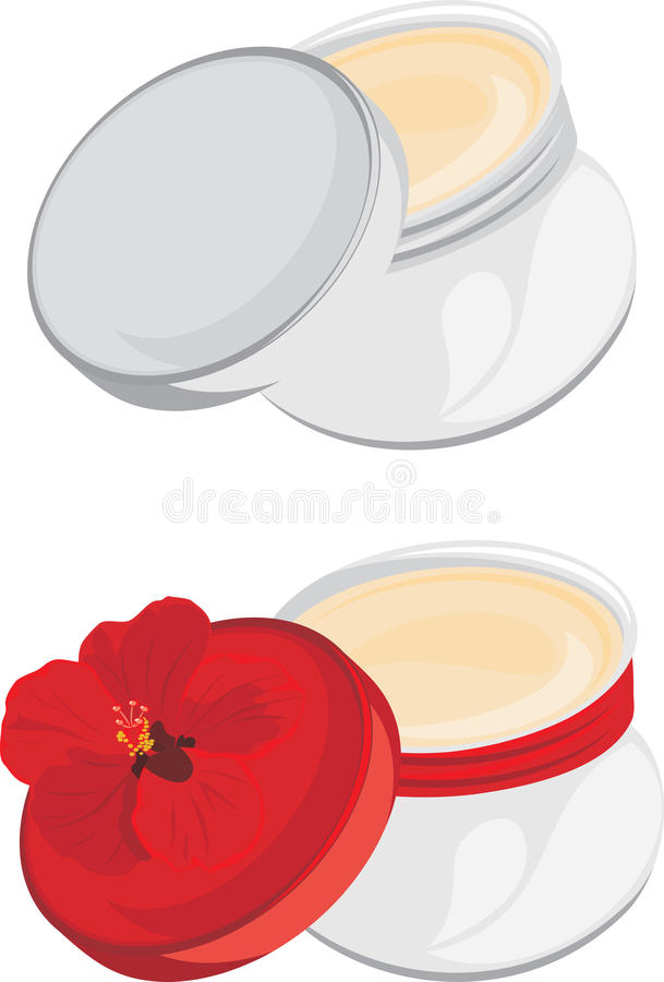 Jars with moisturizer isolated on the white