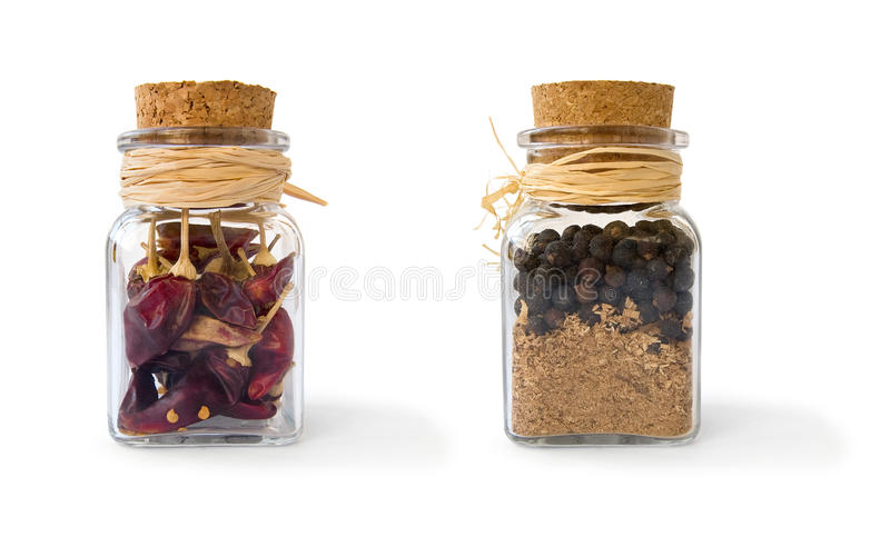 Jars with pepper royalty free stock image