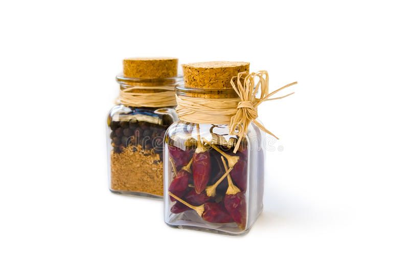 Jars with pepper 2 stock photos