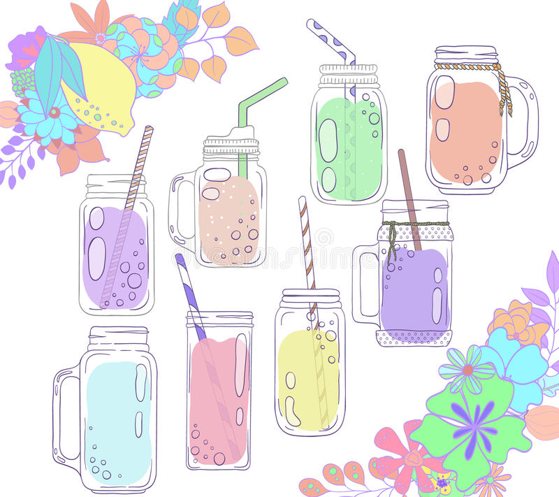 Jars for smoothies and lemonades. Citrus and floral borders. vector illustration