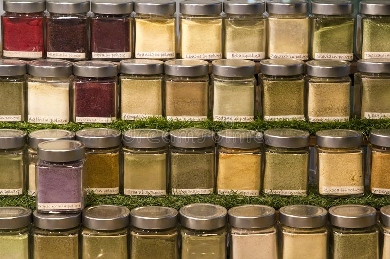 Jars of spices for cooking. Photographed frontally royalty free stock image