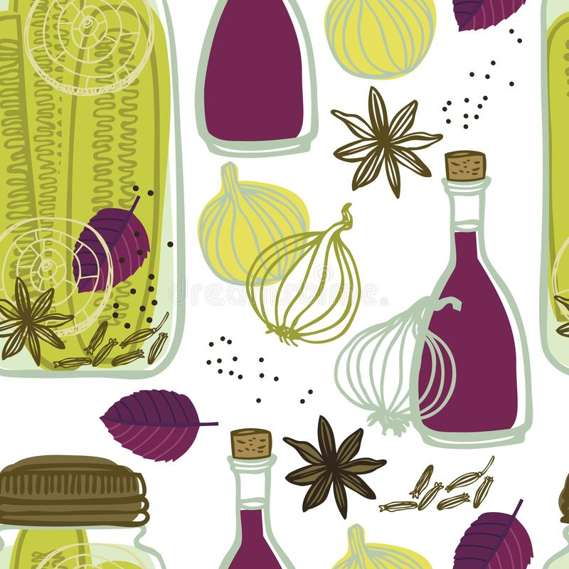 The jars with spicy cucumbers and onions Vegetables set Seamless pattern stock illustration