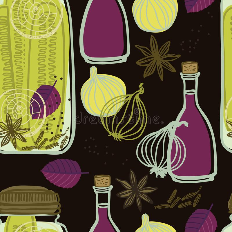 The jars with spicy cucumbers and onions Vegetables set Seamless pattern Dark background vector illustration