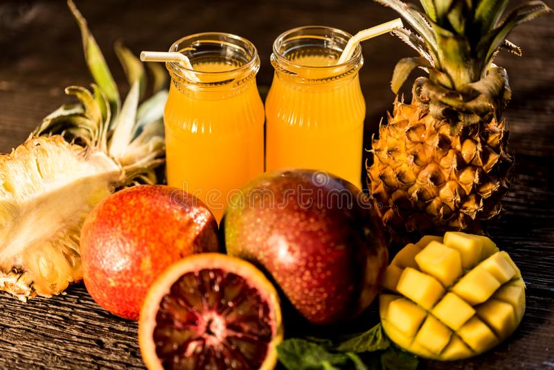 Glasses of juices. Refreshments and summer drinks. royalty free stock photography