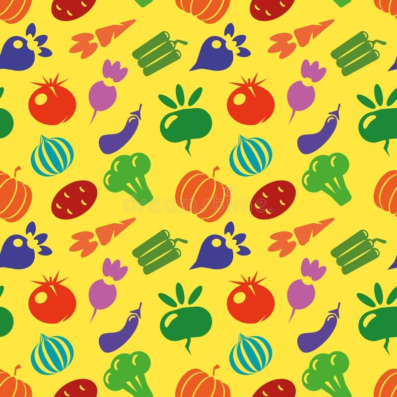 Jarski bezszwowy wzór z marchewką, pomidor, rzodkiew, abstrakcjonistyczni elementy tła nowożytny kolorowy Warzywa dalej ilustracja wektor