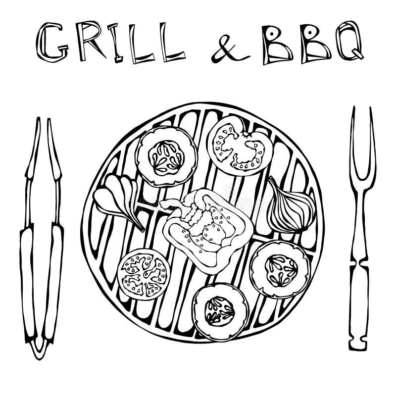 jarski grill Warzywa BBQ Pinkinu i grilla urządzeń rozwidlenie i Tongs Pomidor, Dzwonkowy pieprz, cebula, czosnek i Zucchini, V ilustracja wektor