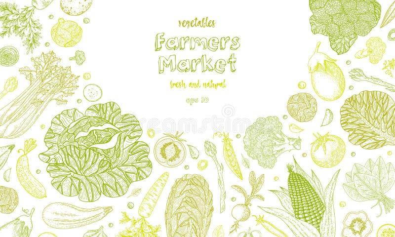 Jarski tło z naturalnymi organicznie produktami Ręka rysująca wektorowa ilustracja Organicznie warzywa jedzenia plakat ilustracja wektor
