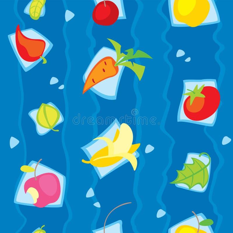 Jarski warzyw i owoc bezszwowy wzór royalty ilustracja