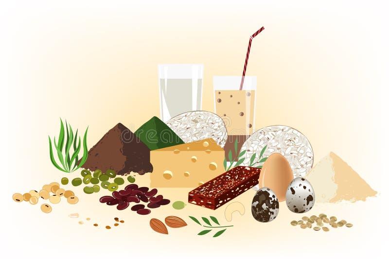 Jarski zdrowy karmowy pojęcie Set surowi ziarna, granola bar, fasole i mleko productds, Proteinowy tło ilustracja wektor