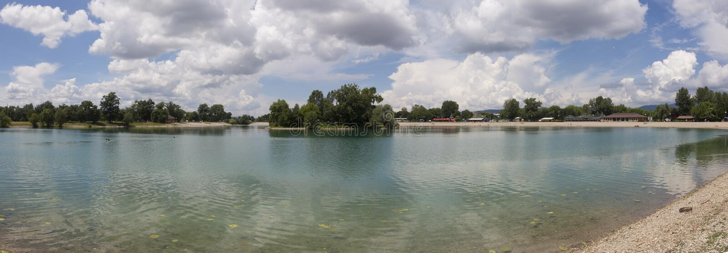 Jarun湖在萨格勒布,克罗地亚 免版税库存照片