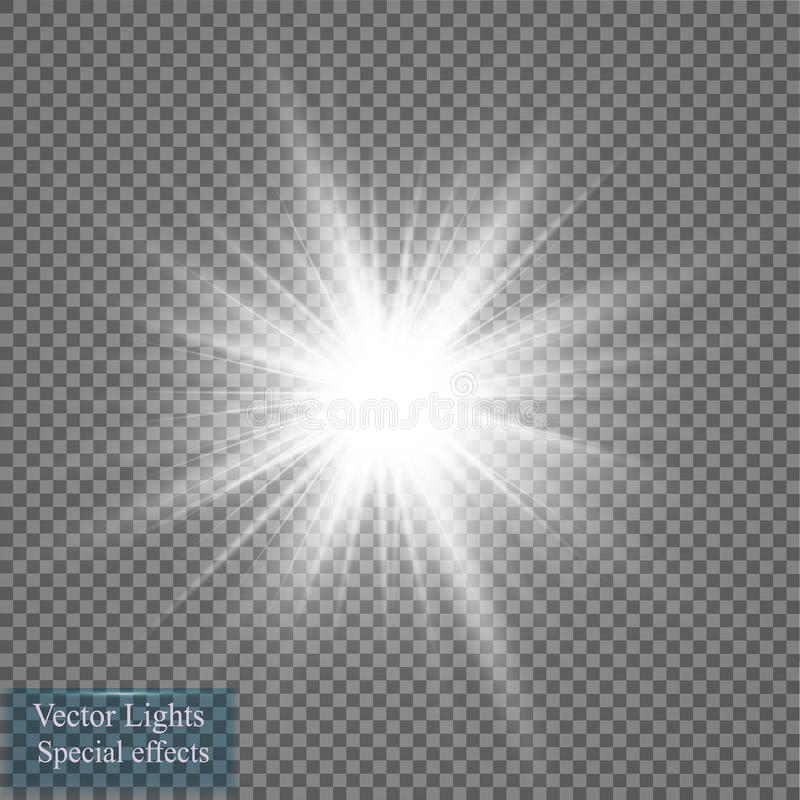 Jarzeniowy lekki skutek Gwiazdowy wybuch z Błyska również zwrócić corel ilustracji wektora słońce