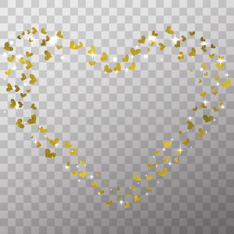 Jarzeniowy lekki skutek i złoci foliowi serca na przejrzystym tle dla odizolowywający walentynka dnia fotografii dekoraci i narzu ilustracji