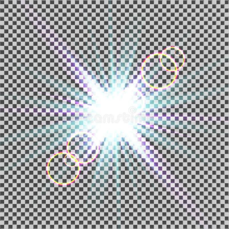 Jarzeniowy lekki skutek Starburst z błyska na przejrzystym tle również zwrócić corel ilustracji wektora słońce Boże Narodzenie bł royalty ilustracja