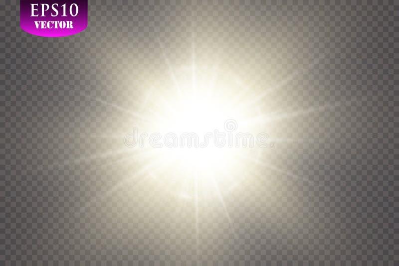 Jarzeniowy lekki skutek Starburst z błyska na przejrzystym tle również zwrócić corel ilustracji wektora Słońce, EPS 10 ilustracji