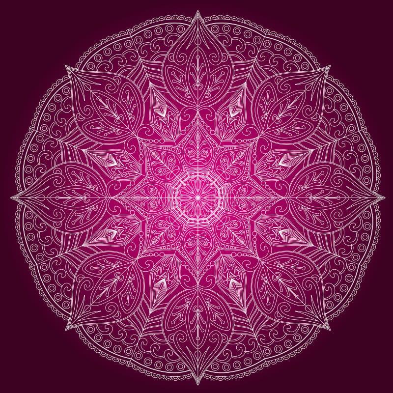 Jarzeniowy mandala zaproszenia Fiołkowa karta Geometryczny okręgu element ilustracji