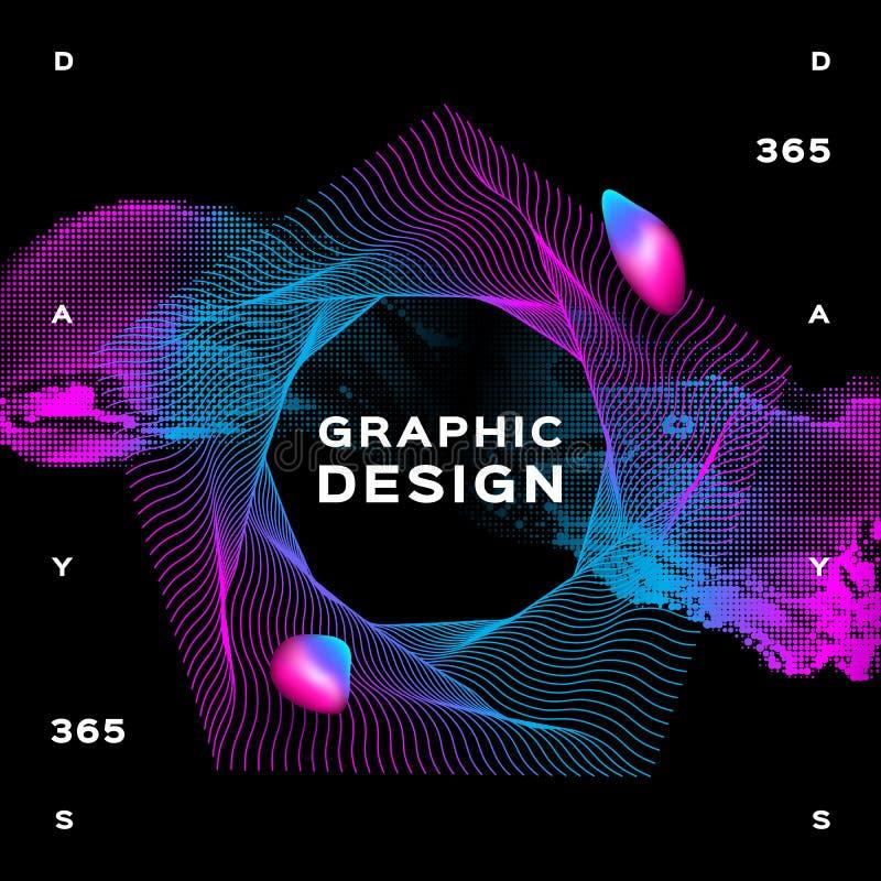 Jarzyć się kształtuje ciekłego dynamicznego przepływ na czarnym tle Modny rzadkopłynny plakatowy projekt, Gradientowy futurystycz ilustracja wektor