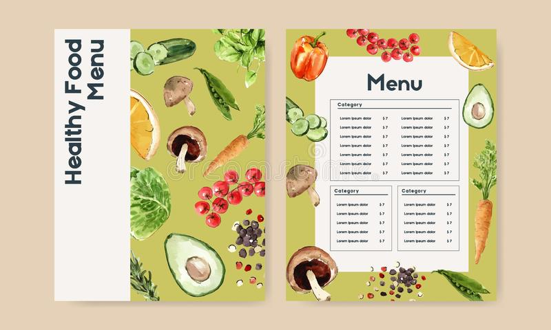 Jarzynowa akwareli farby kolekcja Świeża żywność organicznie menu projekta zdrowa ilustracja ilustracji
