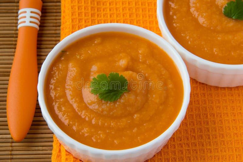 Jarzynowa kremowa polewka z pasternakiem, marchewkami i pomidorami, obraz royalty free
