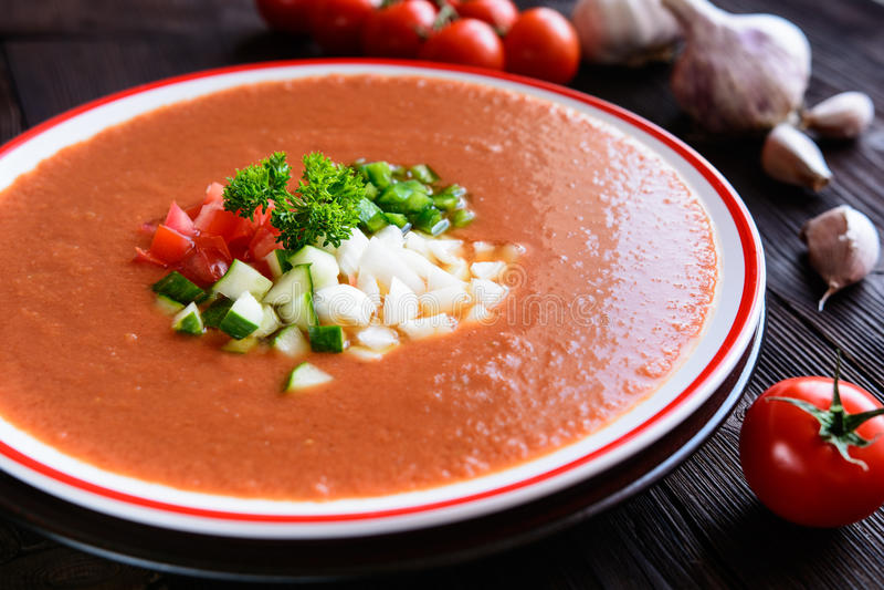 Jarzynowej polewki gazpacho zdjęcie stock