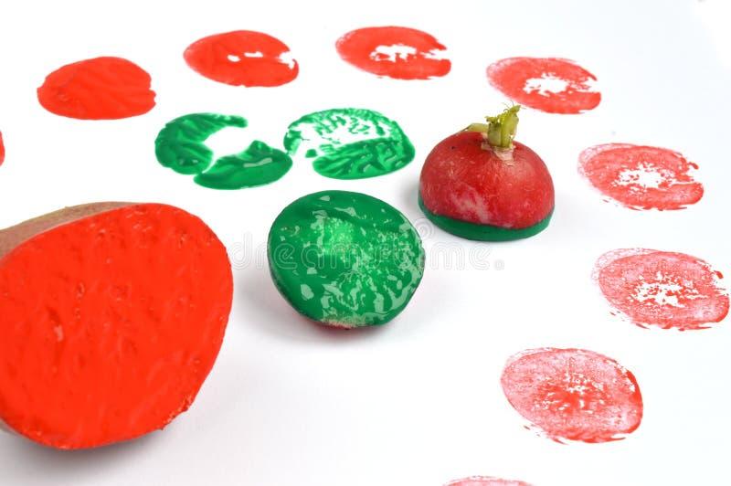 Jarzynowy druk z grulą, rzodkwią i Barwić farbami, obraz stock