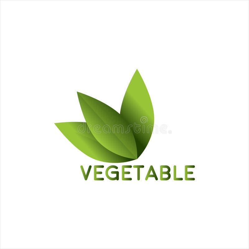 Jarzynowy logo z liścia projektem obraz stock