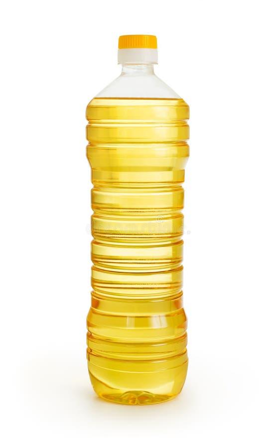 Jarzynowy lub słonecznikowy olej w plastikowej butelce   obrazy royalty free