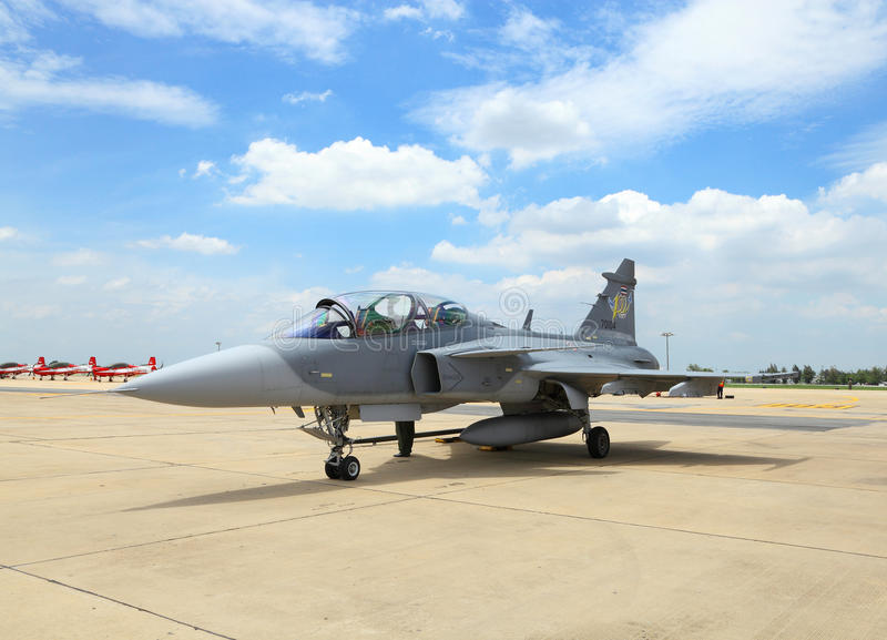 JAS 39 Gripen on show. BANGKOK, THAILAND - JUNE 29: JAS 39 Gripen of Royal Thai air force was showed in Cerebration of 100 year of Royal Thai air force (RTAF) at stock photo